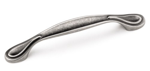 Pewter Cabinet Drop Pull - Laurey 24206 Cabinet Hardware 96MM Teardrop Pull, Antique Pewter