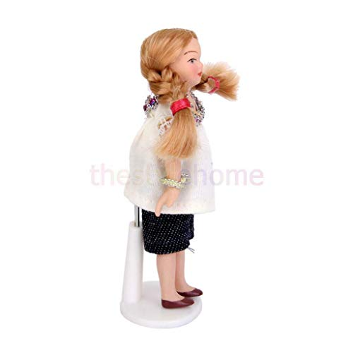 - NATFUR Porcelain Dolls Little Girl in White T-Shirt for Dollhouse Miniature 1:12