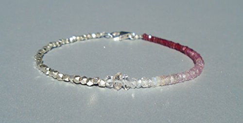 JP_Beads Herkimer Diamond Bracelet, Ruby Bracelet, Longido Ruby Bracelet, Pink Sapphire Bracelet, Karen Hill Silver, Ombre, Dainty Beaded Bracelet 2.5~3 mm
