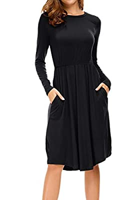 levaca Women's Long Sleeve Pleated Causal Loose Swing Midi Dress with Pockets