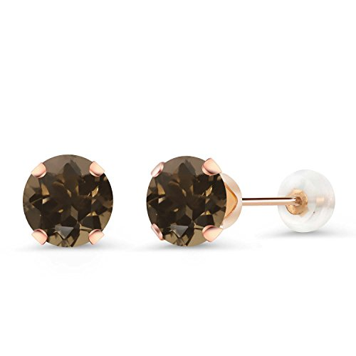 - Gem Stone King 1.60 Ct Round 6mm Brown Smoky Quartz 10K Rose Gold Stud Earrings