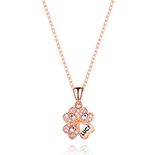 Decoself Lucky Necklaces Clover Love Heart Pendant Necklace 18 Diamonds Made Swarovski Crystals &18K Gold Gifts Women Girls (Pink)