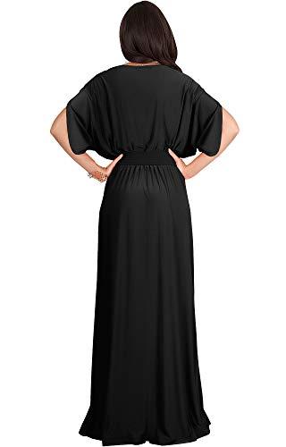 KOH-KOH-Formal-Short-Sleeve-Cocktail-Flowy-V-Neck-Gown