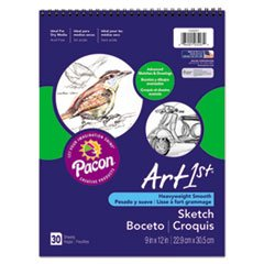 Pacon Artist's Sketch Book, Unruled, 80lb, 9 x 12, White, 30 Sheets (PAC103207) (Artists Diary Sketch)