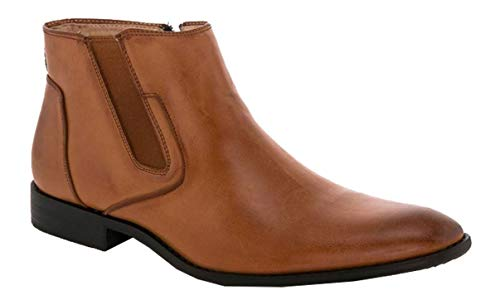 Vanucci Franco Boots Dress Tan Ankle Lace up Casual Chelsea Men's 4 grego Formal up Zip HrqwrdU
