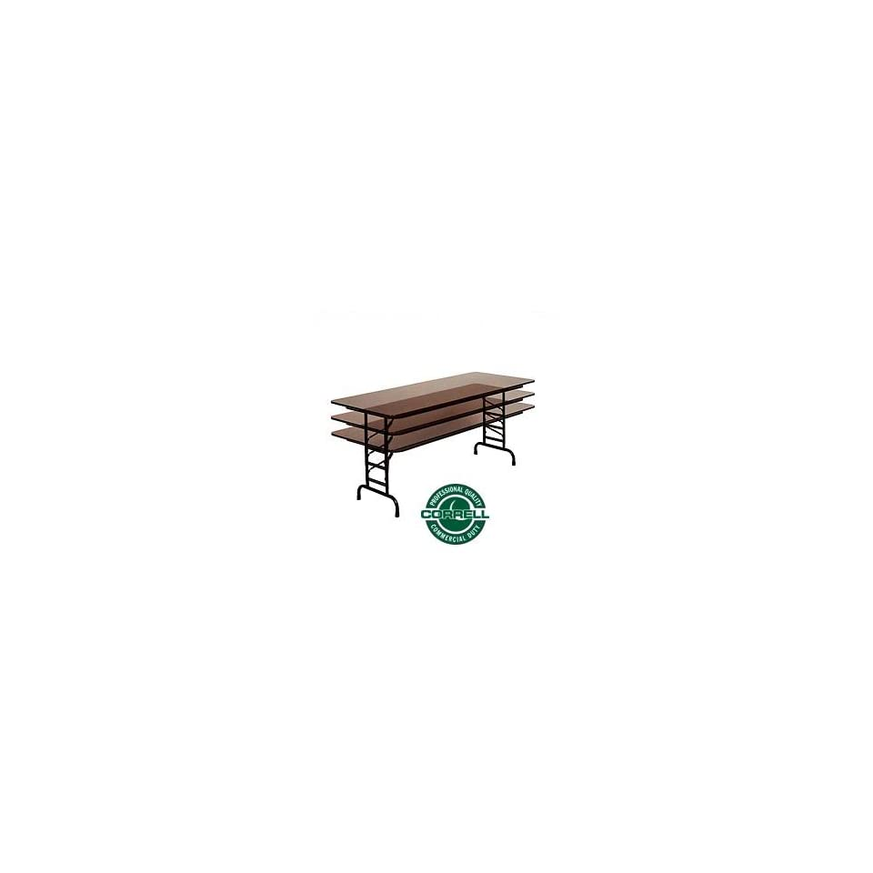 Commercial Duty Folding Table, Adjustable Height 30 X 72 Walnut Top