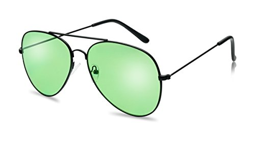 Classic Black Metal Frame Aviator Style Sunglasses W/ Retro Colored Lens (Black, - Glasses Green