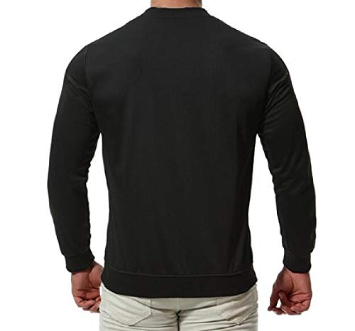Coat Jacket RkBaoye Hoodies Open Full Pure Black Zip Stand Collar Men's Front Color vOvPrqSBw