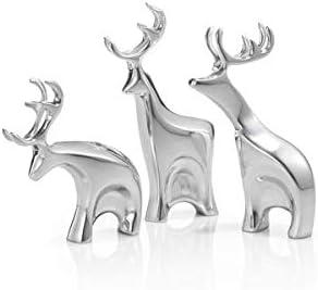 Nambe Miniature Blitzen Reindeer Christmas Set 3 Pieces