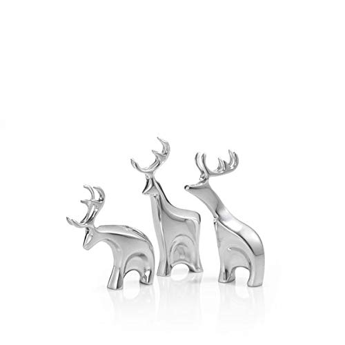 Nambe Miniature Blitzen Reindeer Christmas Set - 3 Pieces