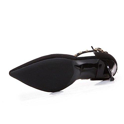 Tacones Vamp EU38 con Pies Emale Negro 5 De Tama CN38 Envueltos Scrub Punta Zapatos De Los Summer Color Finos Sandalias Talones o Goma UK5 Suela q5a814