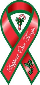Support Our Troops Red Holiday Ribbon Magnet