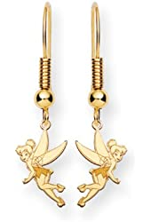Disney's Tinker Bell Wire Earrings in 14 Karat Gold