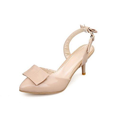 VogueZone009 Damen Rein PU Leder Schnalle Schließen Zehe Sandalen mit Hohem Absatz Aprikosen Farbe