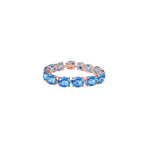 Oval Blue Topaz Bracelet in 14K Rose Gold Vermeil 50 CT TGW - December Birthstone -