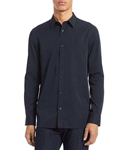 Calvin Klein Men's Cotton Cashmere Button Down Shirt, Sky Captain, Large ()