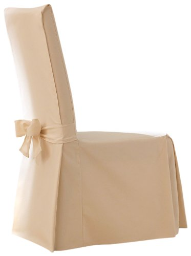 SureFit Cotton Duck Full Dining Room Chair Cover, Natural Duck Short Dining Chair Slipcovers