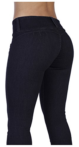 Curvify 764 Women's Butt-Lifting Skinny Jeans | High-Rise Waist, Brazilian Style Black (Booty Pants)