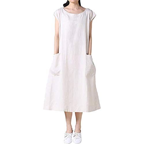 White Ivy Over T-shirt - TRENDINAO Womens T Shirt Dress, Casual with Pockets Plain Color Crew Neck Short Sleeve Summer Maxi Dresses White