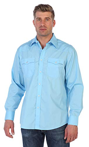 (Gioberti Men's Solid Long Sleeve Western Shirt, Light Blue,)
