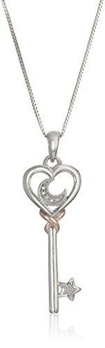 Sterling Silver and Rose Gold Plated Diamond Accent Heart, Moon, and Star in Key Pendant Necklace, 18