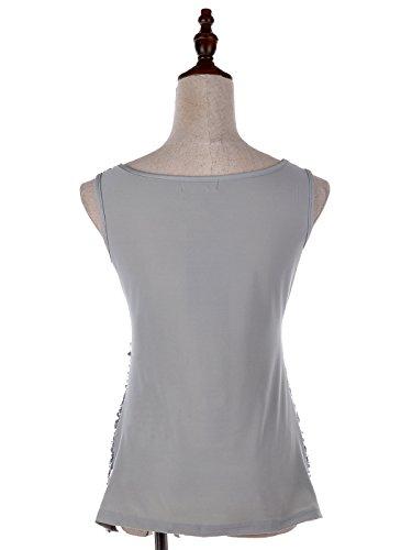 Top kaci placcato Girocollo Shine Sparkle The Paillettes Vest Shimmer Donna Impreziosito shirt And maniche Argento senza Anna T pwdS7qS
