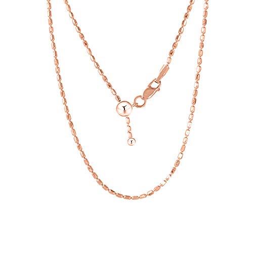 Verona Jewelers Sterling Silver 1.5MM Diamond Cut Adjustable Bead Chain- 925 Rice Bead, Oval Bead Chain in 4 Colors (Rose Gold) 100 Diamond Cut Bead Chain