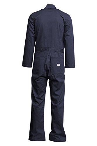 Lapco FR CVEFR7NY-4XL TL Flame Resistant Economy Coveralls, 100% Cotton Twill with Moisture Management, HRC 2, NFPA 70E, 7 oz, 4X-Large Tall, Navy
