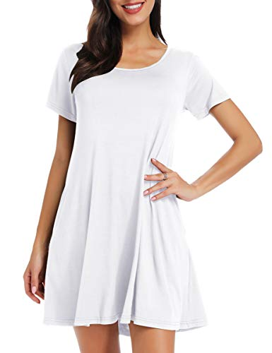 Boots White T-shirt - BELAROI Women's Short Sleeve Swing Dresses Summer Casual Pockets T Shirt Dress(3X,White)
