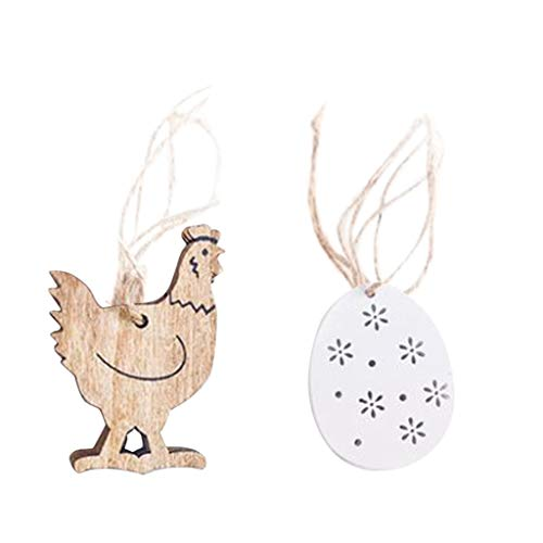 UIFIDI  Easter Decorations Wooden Rabbit Shapes Ornaments Craft Gifts