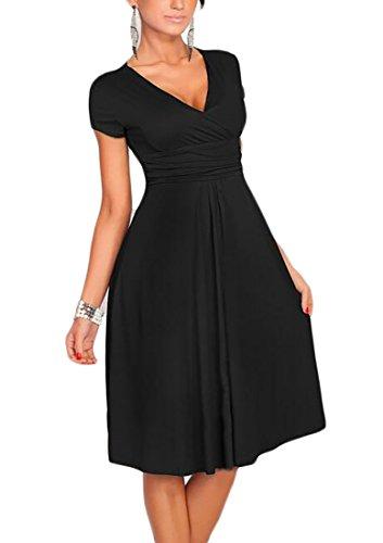 Surplice Summer Neck V Sleeve Short Jaycargogo Womens Midi Dress Black xqgY7wgO