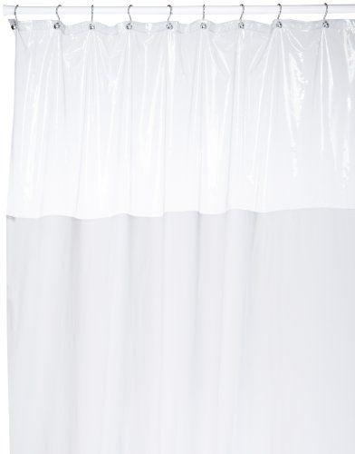 Carnation Home Fashions 72-inch by 72-Inch Vinyl Window Shower Curtain, White