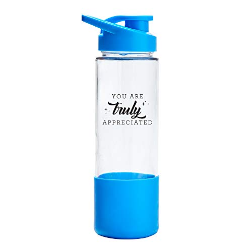 22 oz. Clear Glass Water Bottle with Blue Silicone Sleeve -Capped Lid and Handle - Featuring You are Truly Appreciated Design - Employee Appreciation Gift