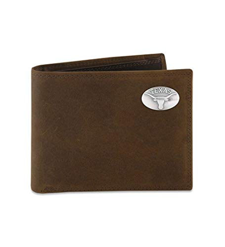 NCAA Texas Longhorns Light Brown Crazyhorse Leather Bifold Concho Wallet, One Size