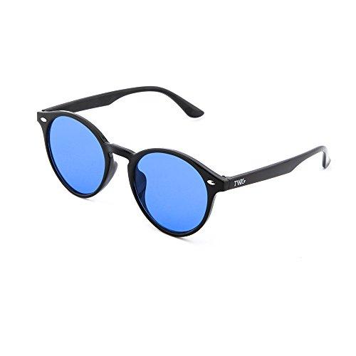 TWIG KANT Gafas redondo mujer de sol Azul Negro hombre espejo xqq6pFw