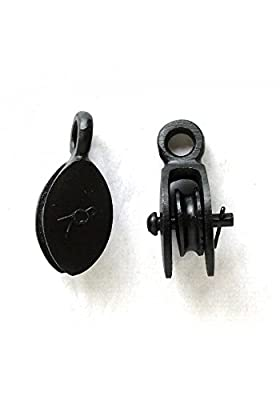 Small Pair of Cast Iron Black and Tackle Style Mounted Lamp / Hardware Pulleys