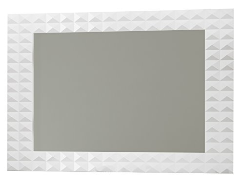 Diamond Wall Framed Mirror 40-inch, White High Gloss Finish, Rectangular, Wall Mounted, MDF Frame, Made in Spain (European Brand) (White, 32'') by Hispania bath