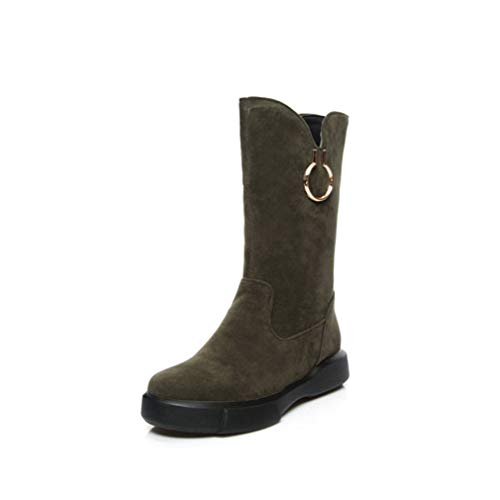JOYBI Women Winter Faux Suede Snow Boot Fur Lined Non Slip Comfortable Fashion Round Toe Mid Calf Boots