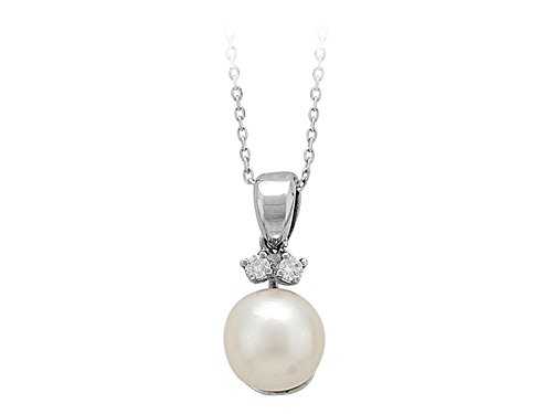 Pendentif Perle et Diamants-Femme- or Blanc 210P0009