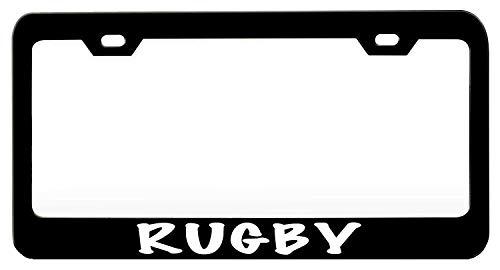 (Rugby Black License Plate Frame, Aluminum Metal Car Licence Plate Cover Holder Slim Design with Screws Caps for US)