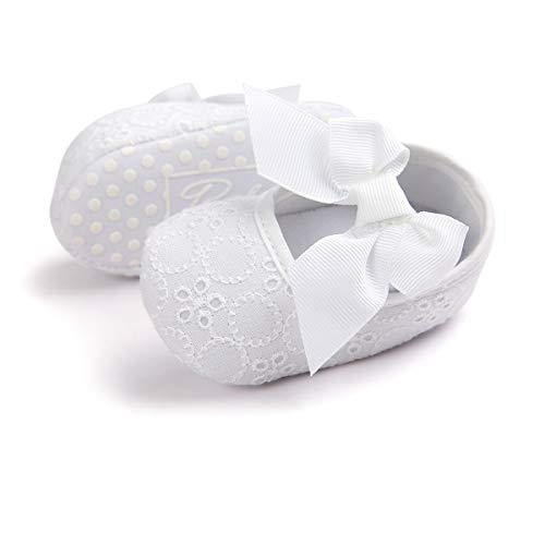 Infant Baby Girl Shoes Soft Sole Toddler Ballet Flats Baby Walking Shoes 6-12months(White12cm)