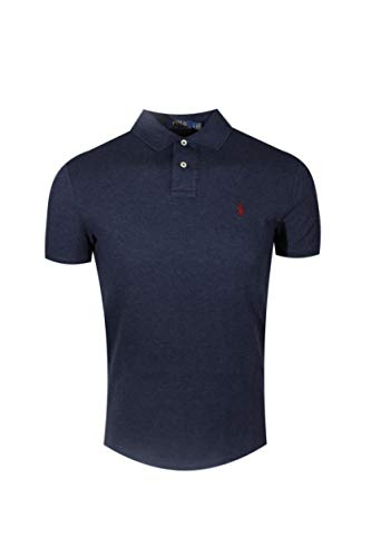 Polo Ralph Lauren Classic Fit Mesh Polo (Small, Navy Heather (Red Pony)) (Polo Red Mesh Classic)
