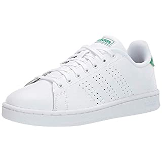 adidas Men's Advantage Tennis Shoe, White/White/Green, 8 M US