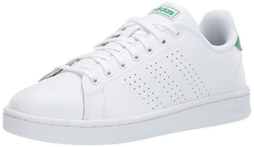 adidas Men's Advantage Tennis Shoe, White/White/Green, 7.5 M US