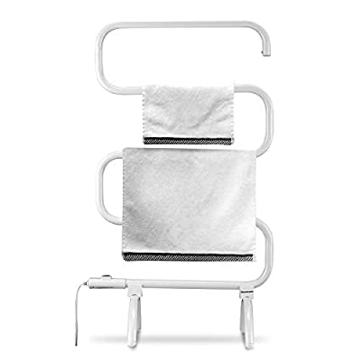 Bath Towel Warmer and Towel Drying Rack, Free Standing and Wall Mount Two Styles Heated Towel Rack, Portable Towel Heater, 100W, White