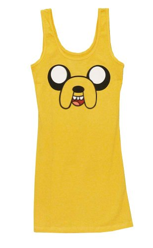 Adventure Time Jake Face Costume Mighty Fine Cartoon Juniors Tunic Tank Top Select Shirt Size: X-Large