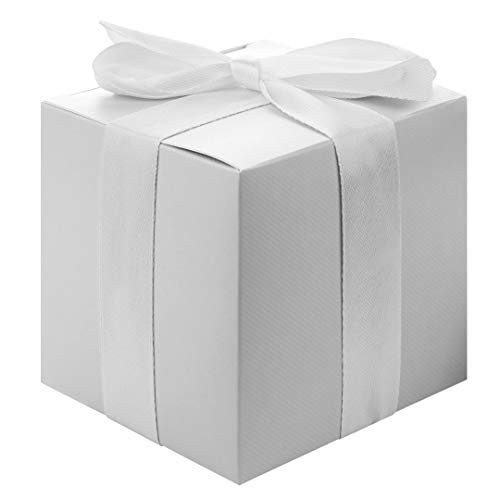 Andaz Press Gift Favor Tuck Boxes, Silver, 3 x 3 x 3 Cube Favor Box with Satin Ribbon Bulk 50-Pack, Party Favor Gift Box for Wedding Favors, Baby Shower, Graduation, Baptism, Bridal Shower
