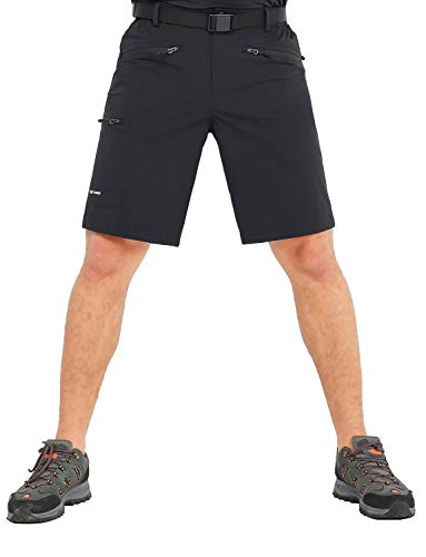 MIER Men's Quick Dry Cargo Shorts Lightweight Stretch Travel Hiking Shorts with 5 Zipper Pockets, Water Resistant, Black, 34