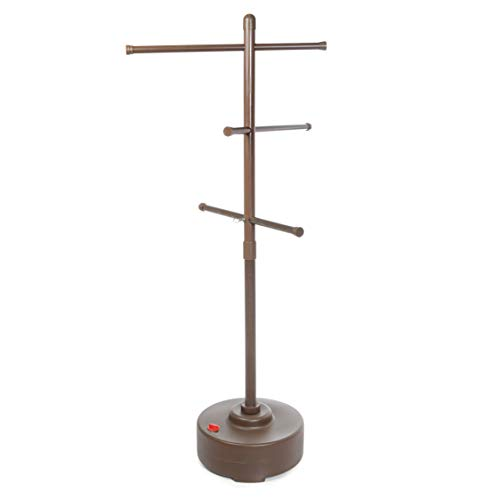 Milliard Freestanding Portable Outdoor Towel Tree, Three Adjustable Bars, Weather Resistant Plastic - 65 inches x 25 inches- Stylish Bronze Colored Pool and Spa Towel Rack