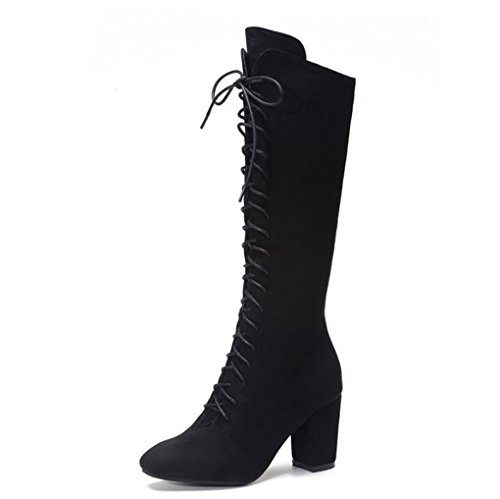 XZ Winter Boots Female Roman Wind Cross Straps High Boots Thick High-Heeled Knight Boots Black 3UAvf6P